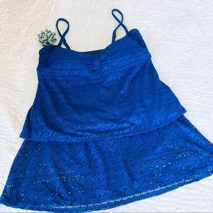 CATALINA Women's Swim Set Tribal Crochet Blue XL